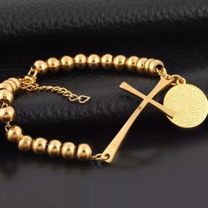 Rosary Bracelet with Cross and The Lord's Prayer